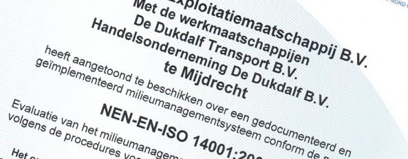 Certificaat ISO 14001